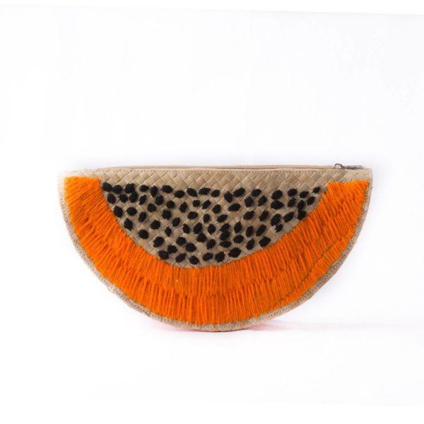 Misenka Papaya Slice Clutch