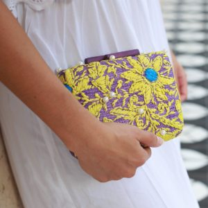 Misenka Embroidered Hard Clutch