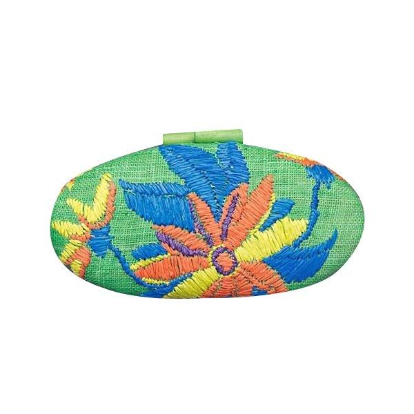 Misenka Embroidered Hard Clutch: Aurora